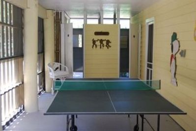Ping Pong area, exercise room and outside showers