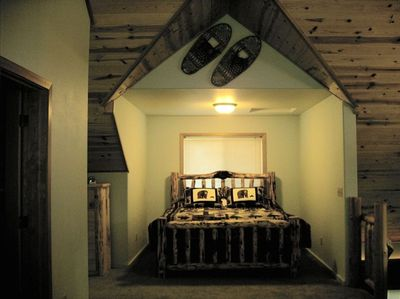 King Size Log Bed In Loft Bedroom