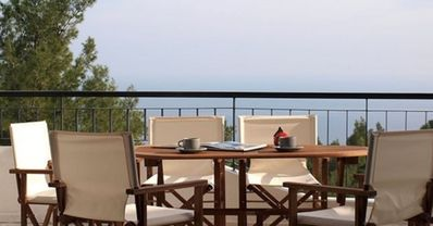 Photo for Villa (DHH) with stunning views of Mount Athos and the sea!