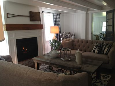 The living room with its fireplace for chilly Hudson Valley nights.