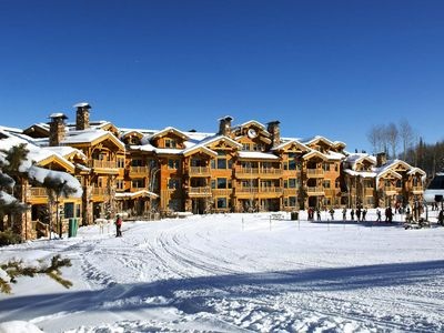 Photo for Ski-in ski-out luxury condo with shared outdoor hot tubs, fitness center and complimentary shuttle