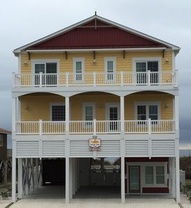 Street side view of ocean front beach house (The Yellow Sub OIB)