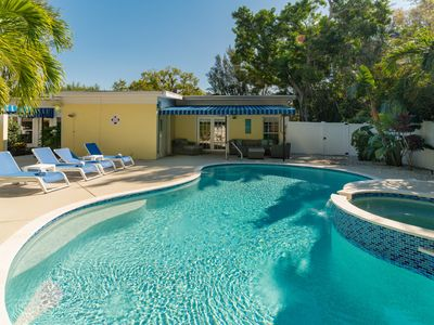 Photo for Dog-friendly house w/ private pool & entertainment - walk to the beach!