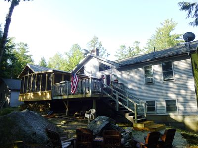 Lake side of house with new screen porch addition