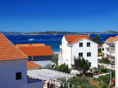 Photo for Beautiful apartment in Vodice / Srima w / sea view - 80m from beach air-con, wifi