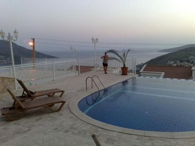 Outside view of pool and beautiful sea views