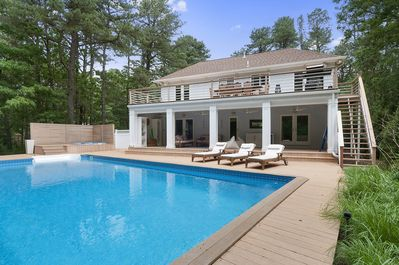 Fun in the sun! Pool, hot tub, outdoor living room and deck
