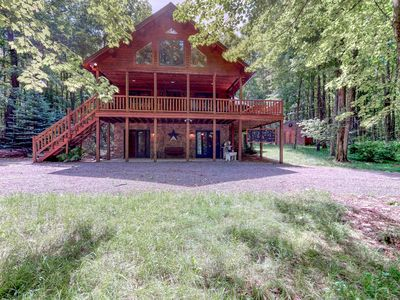 Photo for Serene wooded cabin w/ wraparound deck & fireplace - close to lake activities!