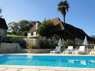 Photo for Authentic Béarn farmhouse eighteenth century, 4 ears, 4 stars NN, heated pool