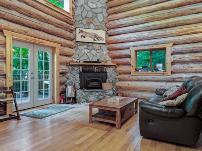 Photo for NEW LISTING! Custom log home w/ mountain views and private hot tub, dogd ok!