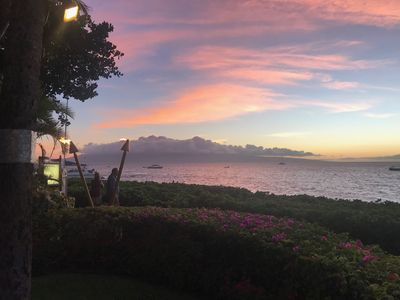 Barbecue area tower two, sunset and view of clouds over the island of Lanai, Wow