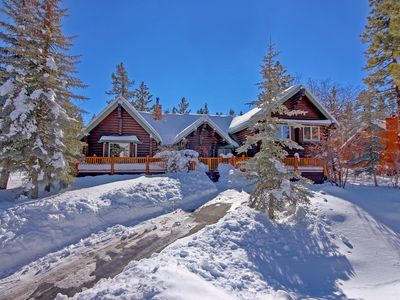 Photo for Beautiful Log Cabin with views  hot tub, WIFI, minutes to both ski resorts