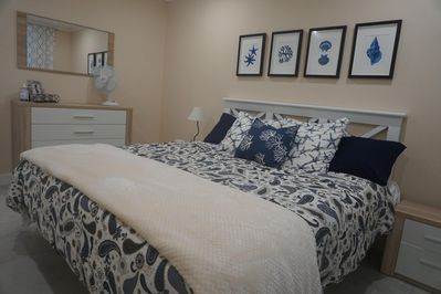 Master Bed room downstairs with king size bed