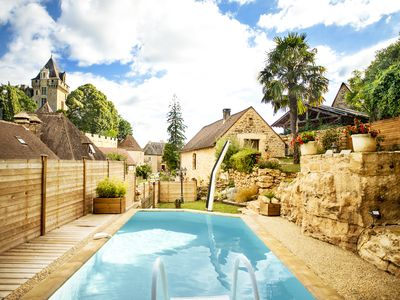 Photo for Typical stone house. Heated swimming pool, garden , stunning view