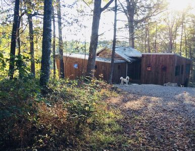 Photo for Peaceful mountain modern retreat cottage near Asheville, river view and access