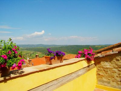 Photo for In lovely hilltop hamlet facing the sea big panoramic apt 2terraces superb views