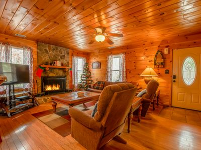 Photo for Deluxe Family Cabin   3 BR 2BA   Hot Tub   Walk to Trout Pond   Secluded   Pets