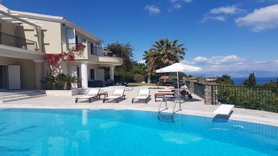 Photo for Fabulous Villa with A/C, Private Pool & Beautifully Manicured Gardens with Panoramic Sea Views!