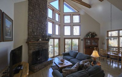 Living room with floor to ceiling windows