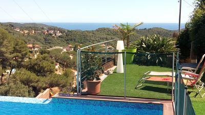 Photo for Villa pool and private boules court with sea view and nature near Barcelona