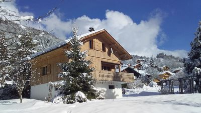 Photo for Pretty chalet with panoramic mountain views. Five mins drive to skiing