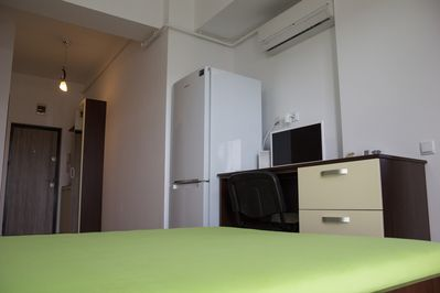 Bed, refrigerator, tv, air conditioning, wi-fi