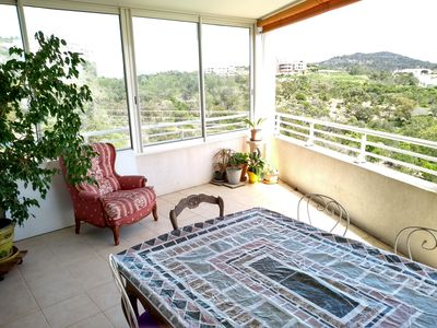 Photo for Flat T4 family and calm. Terrace clear view scrubland.
