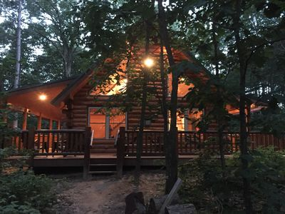 Photo for Natures Paradise! PRIVATE 7 acre wooded lakefront property & AMISH log cabin!