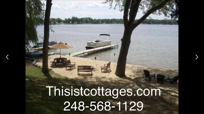 Photo for Thisisit-Too Lakefront Cottage Includes 22' Pontoon Boat and Sandy Beach!
