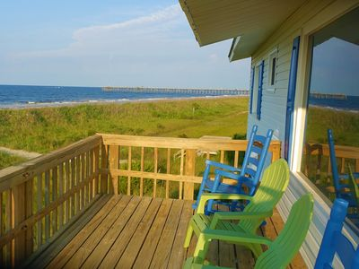 Photo for Ocean Front Beach Cottage-180 degrees ocean view from every room and L-deck