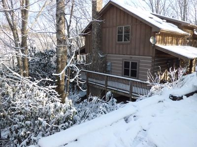 Photo for Romantic Private Mountain Cabin with Hot Tub, WiFi, and Wood Burning Fireplace