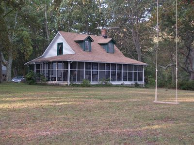 Photo for Riverfront - Rustic Cottage - 3+ acres - Wide Private Beach