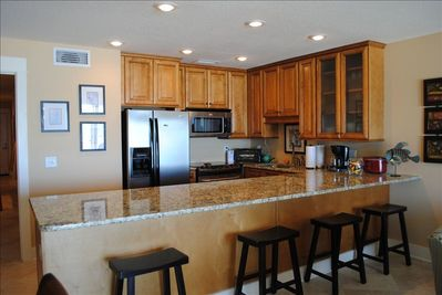 Completely Updated kitchen with maple cabinetry, granite, stainless,  ON GULF!
