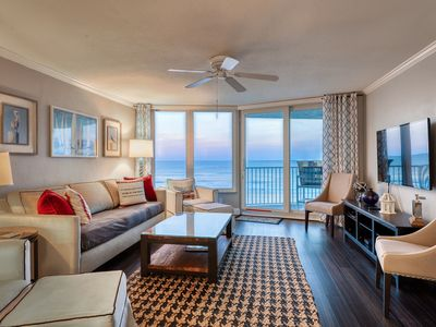 Photo for Oceanfront condo w/ a private balcony, views, shared pool, gym, & beach access