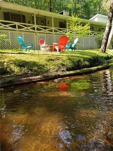Photo for It's cooler by the water! Perfect for 2-8,  long covered porch overlooks stream