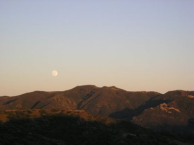 August Harvest Moonrise over Topanga State Park. Taken from patio.