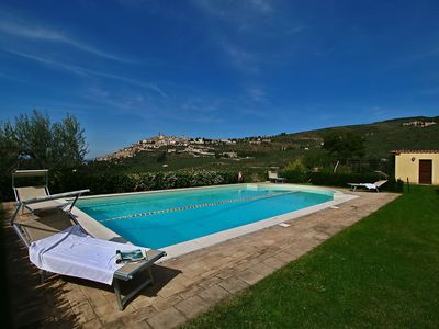 Photo for Agriturismo in the hills, private terrace, swimming pool and beautiful view