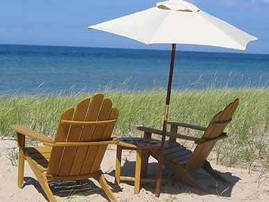 Our teak chairs at the beach.