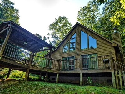 Photo for Fontana Lake backs up to this property during the summer months.