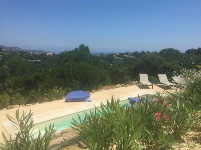Photo for Beautiful villa, sea view on the golf of Saint Tropez, private pool & tennis