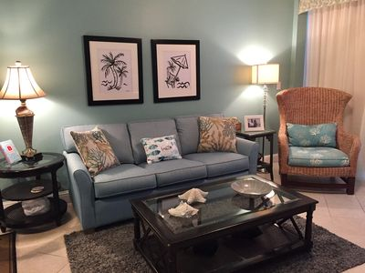 Spacious Living Room opens to Gulf Front Balcony.  New Queen Sleeper Nov 1, 2018