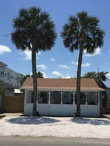 Photo for 1/2 block to the ocean!Twin Palms Cottage's Front Porch! Salt Air And Seagulls!