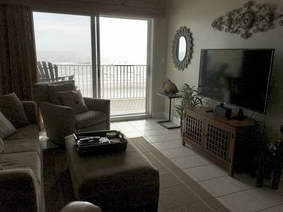 """Great view of the gulf (and a 55"""" Smart LED TV from our cozy living room."""