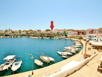 Photo for House 50m 2 heated ES CASTELL, 100 m CALES FONTS, 70m 2 garden, private garage,