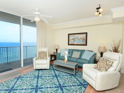 Photo for Picturesque gulf-front condo! Free DVD rentals! Minutes to Pier Park!