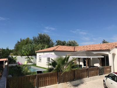 Photo for Charming 3 bedroom villa with pool near Rochelongue beach
