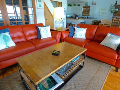 Brand new leather sofas in the living room.
