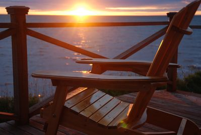 Sunsets on the oceanfront deck; A spectacular way to end the day.