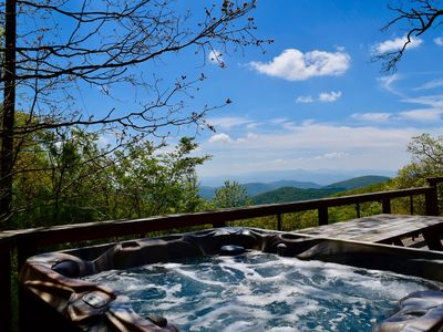 Enjoy this beautiful mountain view while you soak your worries away.