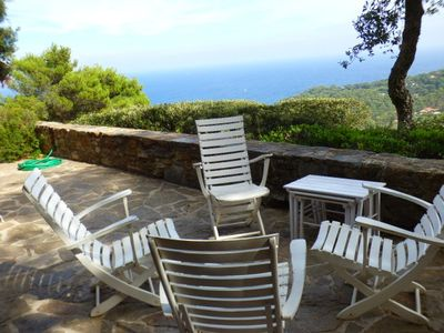 Photo for THE FAVIERE / GAOU BENAT - SUPERB SEA VIEW. VILLA . 5pers. BEAUTIFUL TERRACE